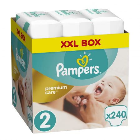Пелени Pampers Premium Care XXL Box 2 Mini, 3-6 кг, 240 бр