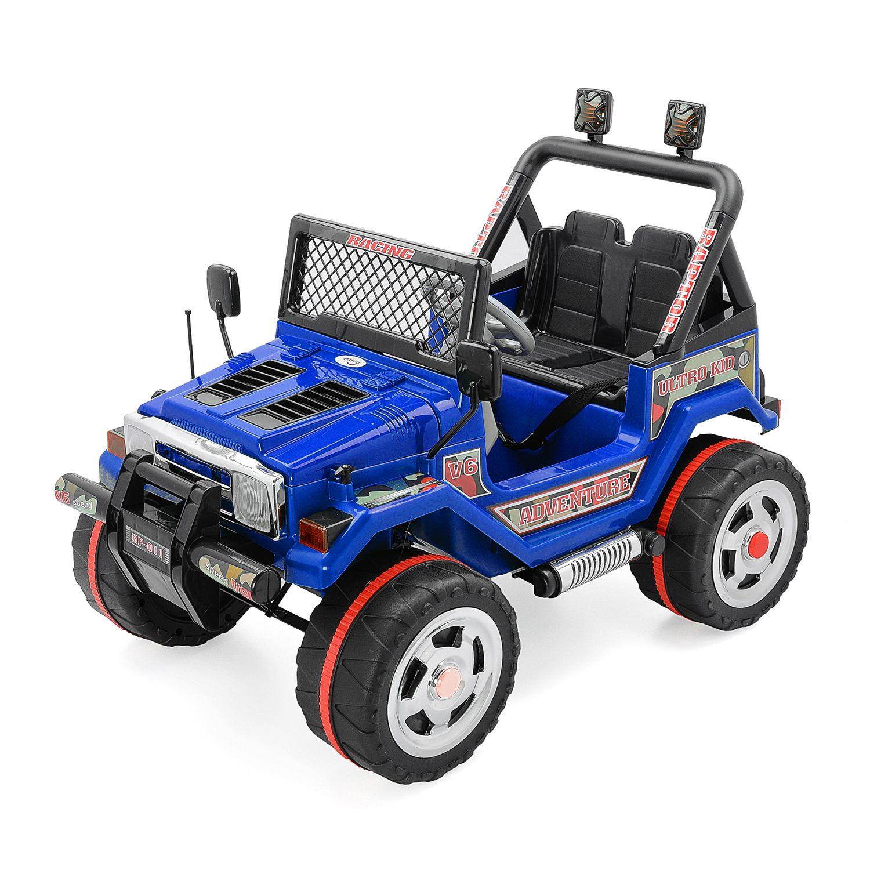 Детска електрическа кола Mappy, двуместна, Drifter Jeep, синя