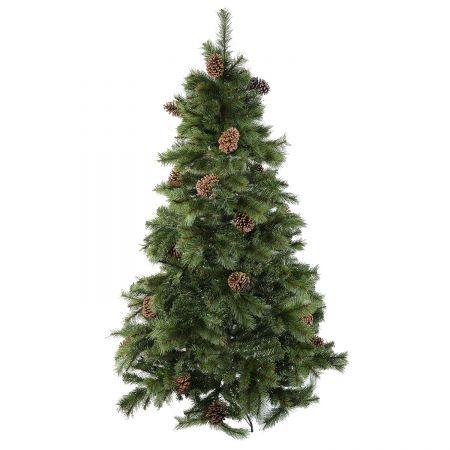 Изкуствена елха Kring Colorado с шишарки, Полипропилен и PVC, 210 см, Метална стойка