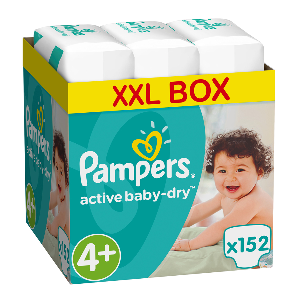 Пелени Pampers Active Baby 4+ Maxi+ XXL BOX , 9-16 кг, 152 бр