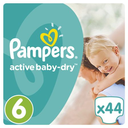 Пелени Pampers Active Baby Jumbo Pack 6 Extra Large, 15 кг, 44 броя