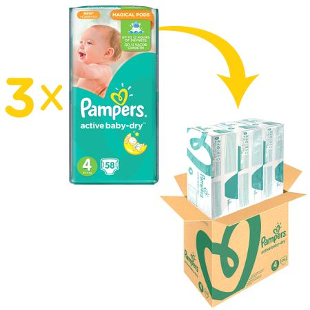 Пелени Pampers Active Baby XXL BOX 4, 8-14 кг, 174 броя