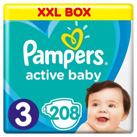 Пелени Pampers Active Baby XXL BOX 3, 6 - 10 кг, 208 броя