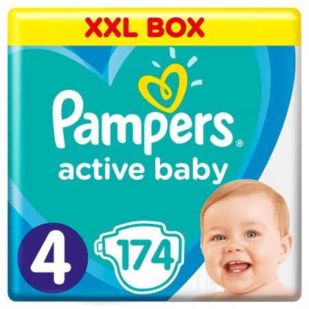 Пелени Pampers Active Baby XXL BOX 4, 9-14 кг, 174 броя