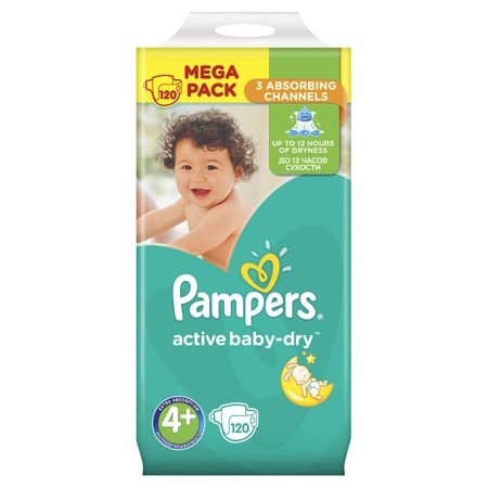 Пелени Pampers Active Baby Dry MEGA PACK 4+, 120 броя, 10-15 кг