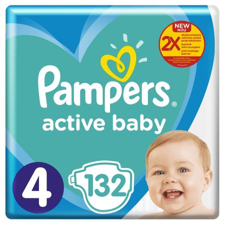 Пелени Pampers Active Baby Mega Pack +, Размер 4, 9 -14 кг, 132 броя