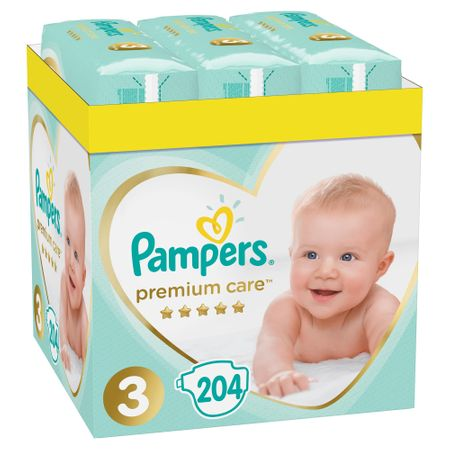 Пелени Pampers Premium Care XXL BOX 3, 5-9 кг, 204 бр
