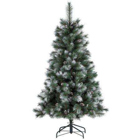 Коледна елха Kring Maryland, С шишарки и заснежени клони, Сребриста, 180 см