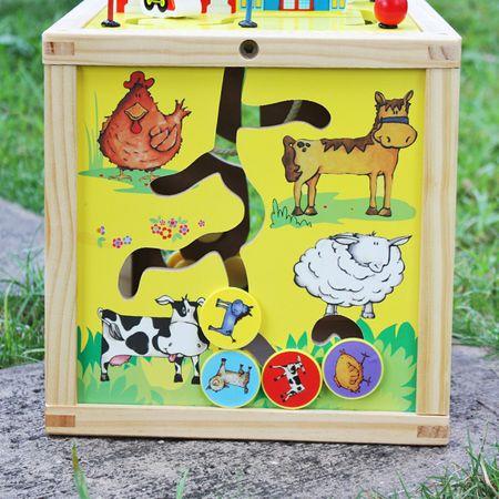 Дървенa играчкa M-Toys - Многофункционален куб с часовник