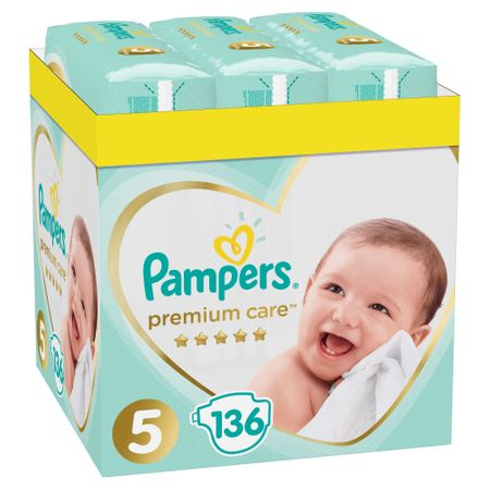 Пелени Pampers Premium Care XXL Box 5, 11- 16 кг, 136 броя
