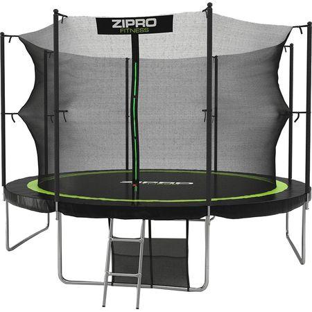 Батут Zipro, 374 см, Черен/Зелен