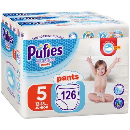 Пелени-гащички Pufies Pants Sensitive Junior, Размер 5 Junior, 12-18 кг, 126 броя