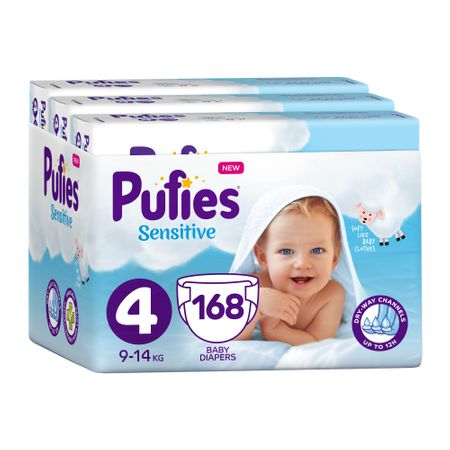 Пелени Pufies Sensitive, 4 Maxi, Monthly Pack, 9-14 кг, 168 броя