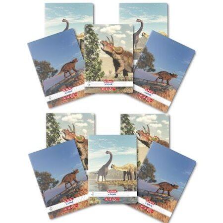 Комплект 10 тетрадки Herlitz, A5, 48 листа, 70 гр/м2, Диктовка, Заоблени ъгли, Мотив Dino Mania